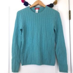 Anne Klein Turquoise 100% Cashmere Cable Sweater